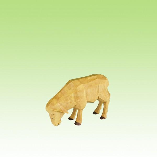 geschnitztes Schaf, fressend, 12 cm, farbig lasiert