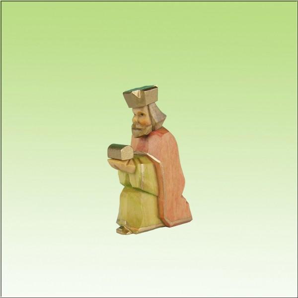 geschnitzter König, kniend, 7cm und 9cm, farbig lasiert
