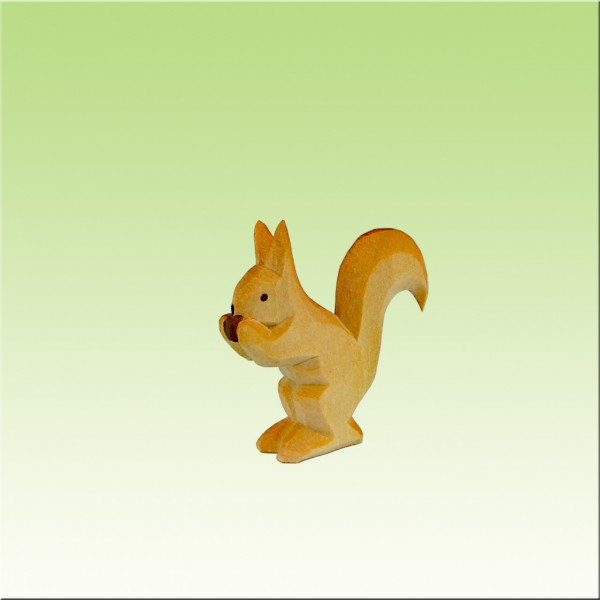 Eichhörnchen mit Nuß, farbig