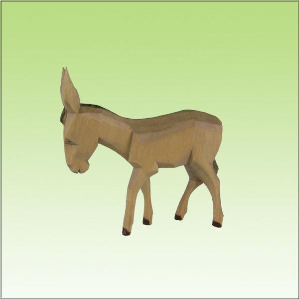 geschnitzter Esel, 7cm und 9cm, farbig lasiert