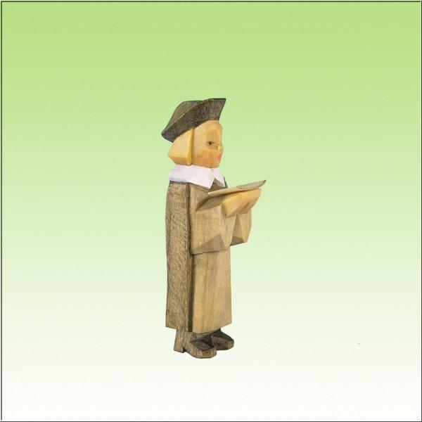 geschnitzter Kurrende Sänger, 7cm, farbig lasiert