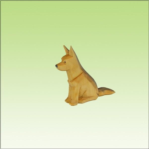 geschnitzter Schäferhund, sitzend, 7cm, 9cm u.12cm, farbig lasiert