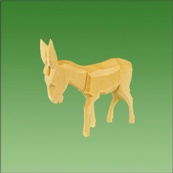 geschnitzter Esel, 7cm und 9cm, natur lasiert