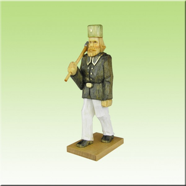 geschnitzter Bergmann, Hauer, 12cm, farbig