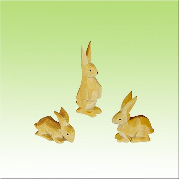 geschnitzte Hasengruppe,3-4cm farbig