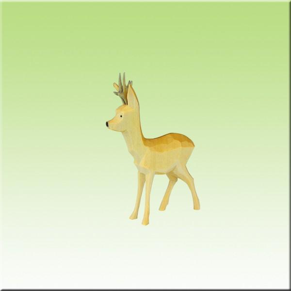 geschnitzter Rehbock, sichernd, 3,5cm, farbig