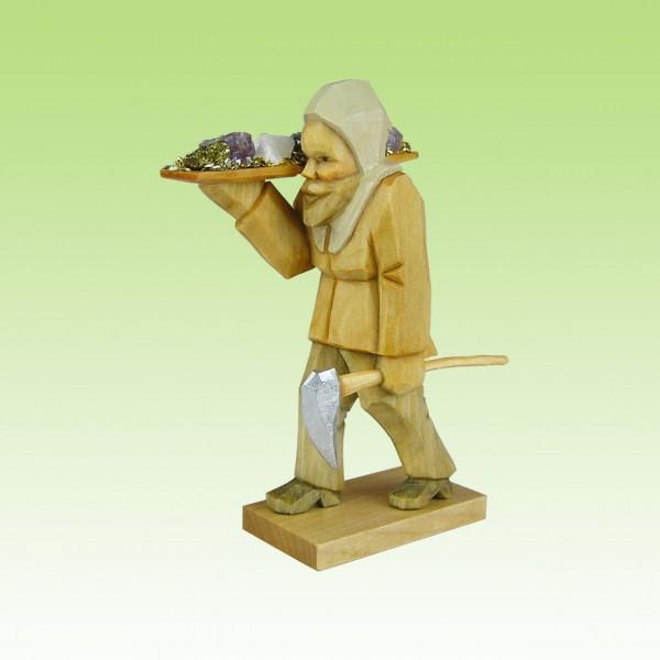 geschnitzter Bergmann m. Erzschale, 7-12cm farbig