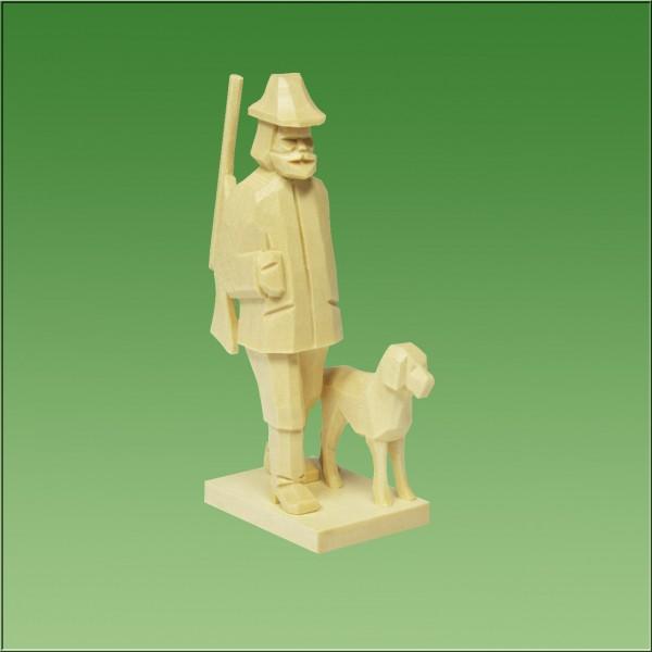 geschnitzter Förster mit Hund, 7-9cm, natur