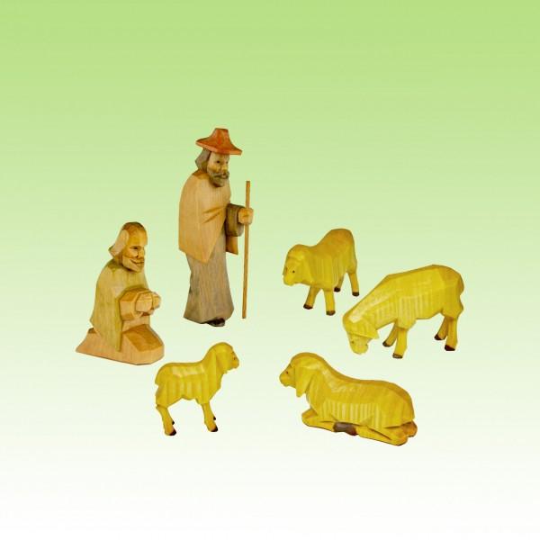 geschnitzte Hirten und Schafe