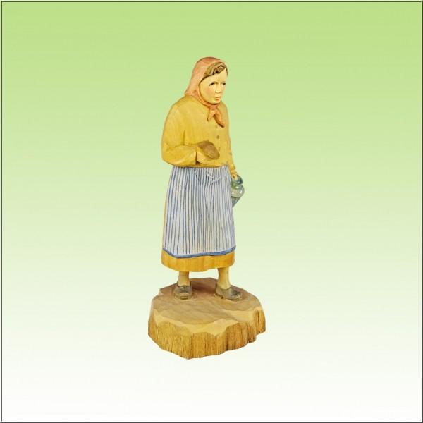 geschnitzte Pilzfrau, 18cm, farbig