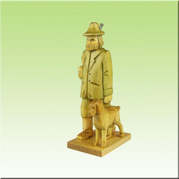 geschnitzter Förster mit Hund, 9cm u. 12 cm farbig lasiert