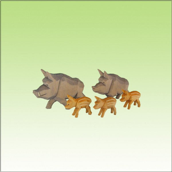 geschnitzte Wildschweinrotte, 4cm, farbig