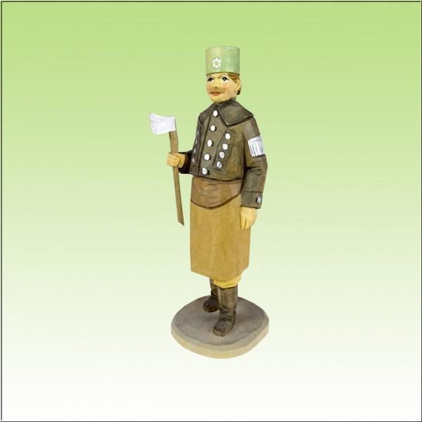 geschnitzter Bergzimmermann, 12cm, farbig lasiert