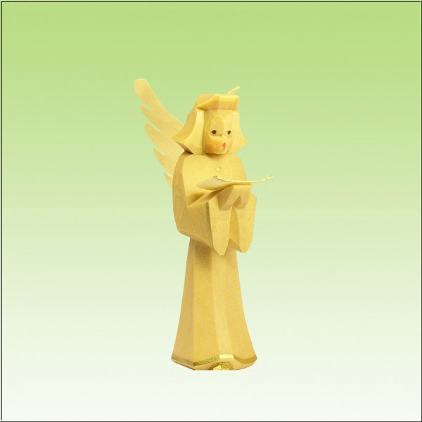 geschnitzter Engel, Sänger, 7cm, natur lasiert