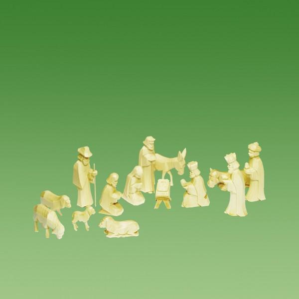 geschnitzte Krippenfiguren, Set 14 Teile