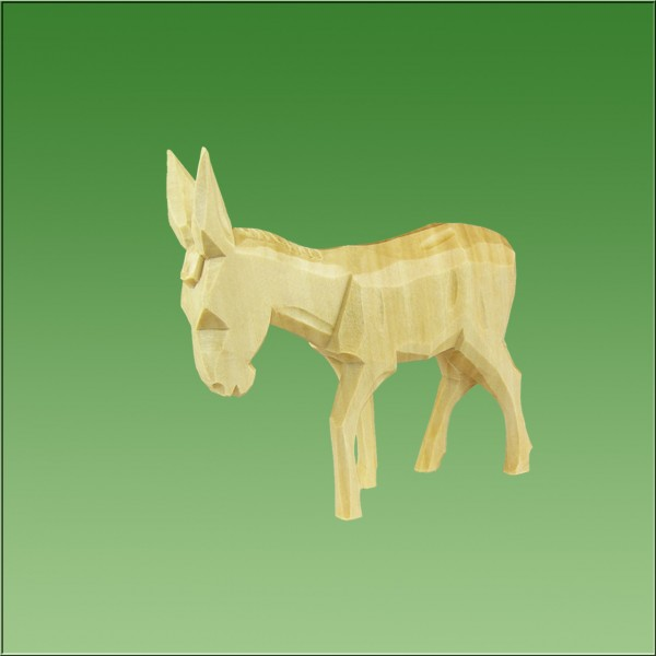 geschnitzter Esel, 9cm, natur