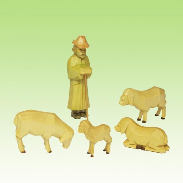 geschnitzter Schäfer mit Schafen