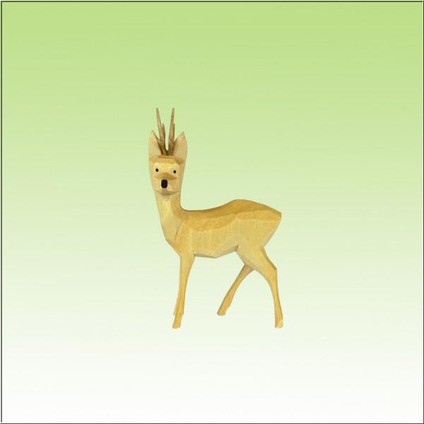 geschnitzter Rehbock, zur Seite sichernd, 3,5cm, farbig