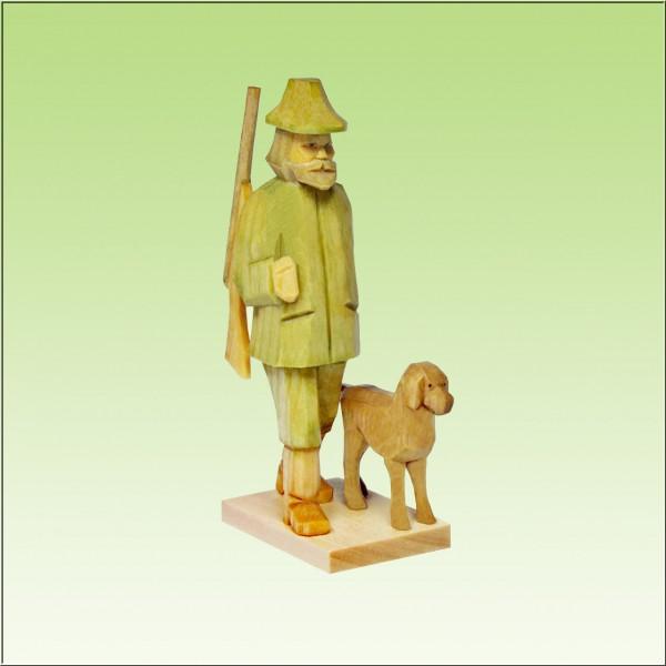 geschnitzter Förster mit Hund