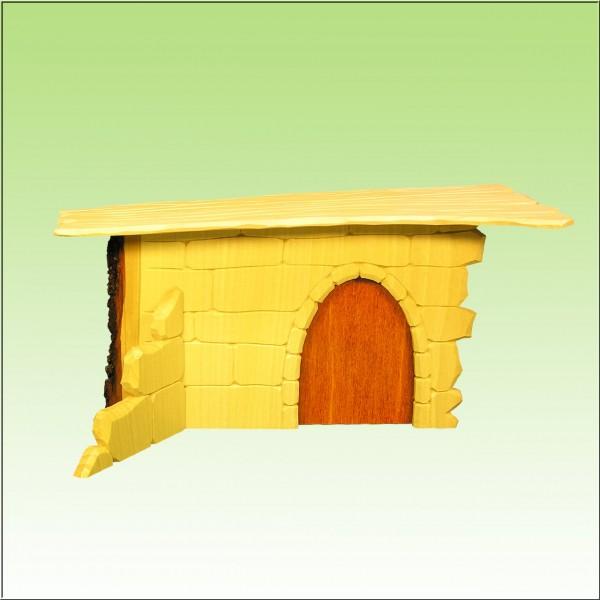 geschnitzter Krippenstall, Mauerwerk, mit Rindenkante