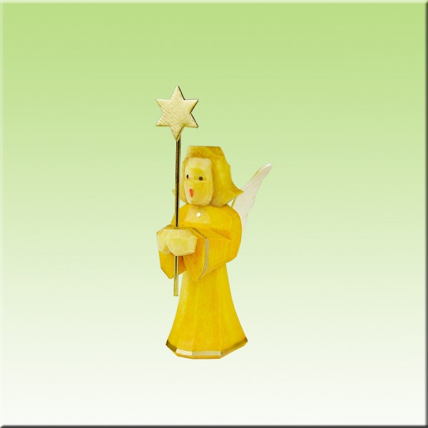 geschnitzter Engel, Sternträger, 5cm, farbig lasiert