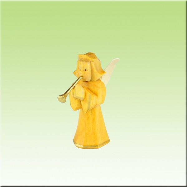 geschnitzter Engel, 5cm, Bläser, farbig lasiert