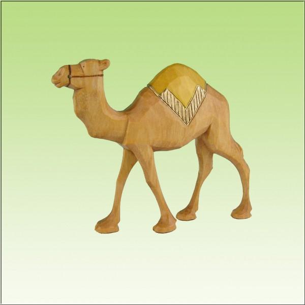 geschnitztes Kamel, laufend, gelbe Decke, 7cm und 9cm, farbig lasiert