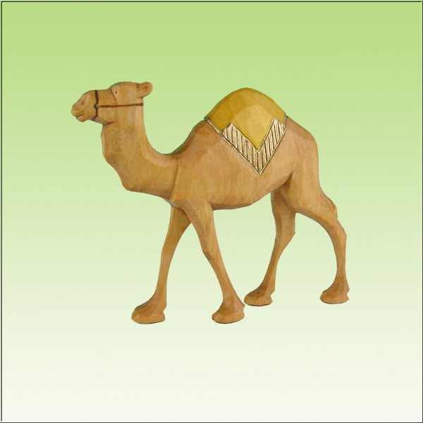 geschnitztes Kamel, laufend, 7-10cm, farbig