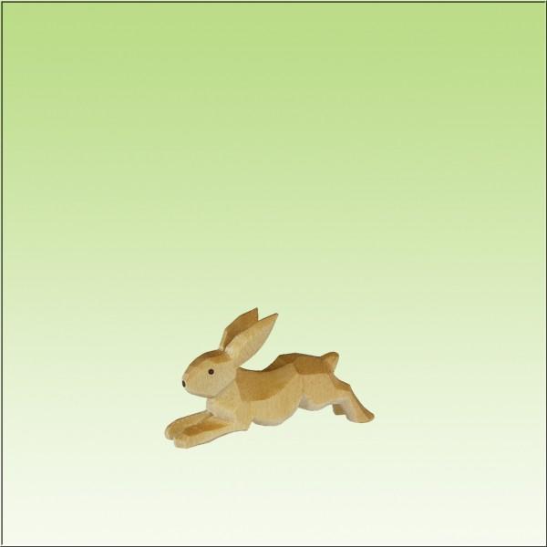 geschnitzter Hase, flüchtend, farbig lasiert