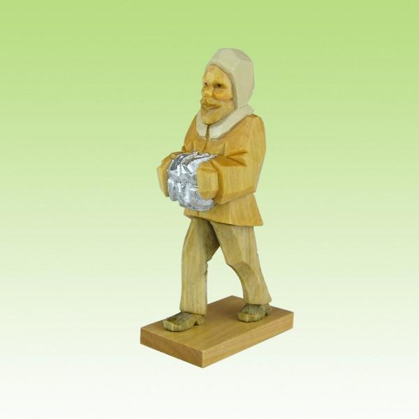geschnitzter Bergmann, m. Erzbrocken,7-12cm, farbig