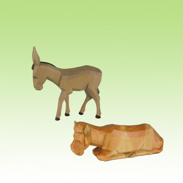 geschnitzter Ochs und Esel
