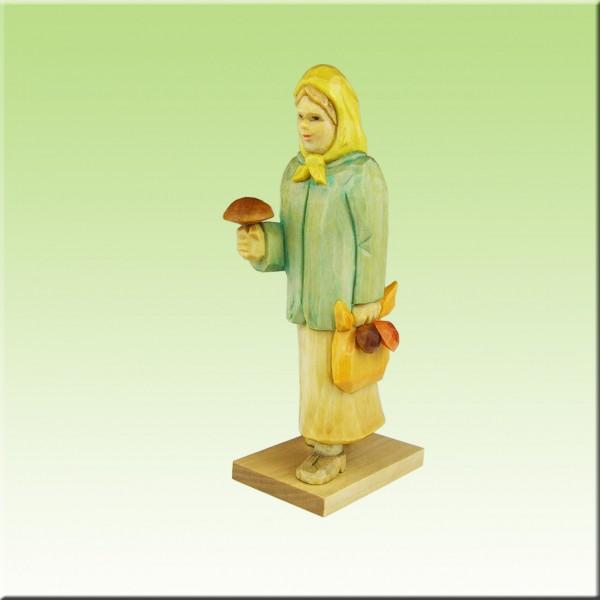 geschnitzte Pilzfrau, 9-12cm, farbig