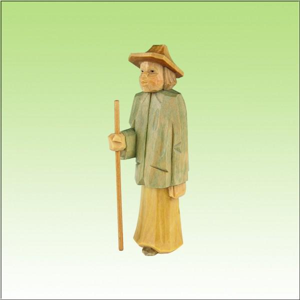 geschnitzter Hirte stehend, jung mit Hut, 12 cm, farbig lasiert