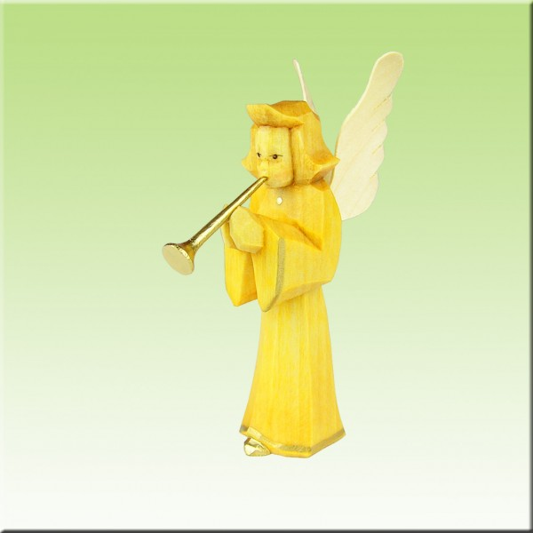 geschnitzter Engel, Bläser, 7cm, farbig lasiert
