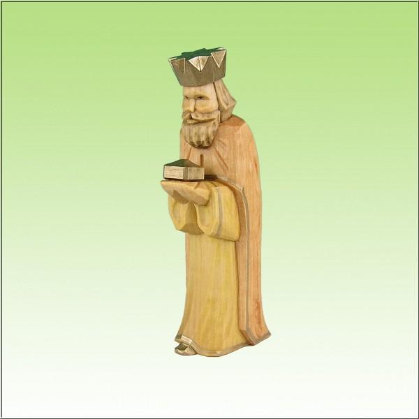 geschnitzter König, stehend, farbig lasiert