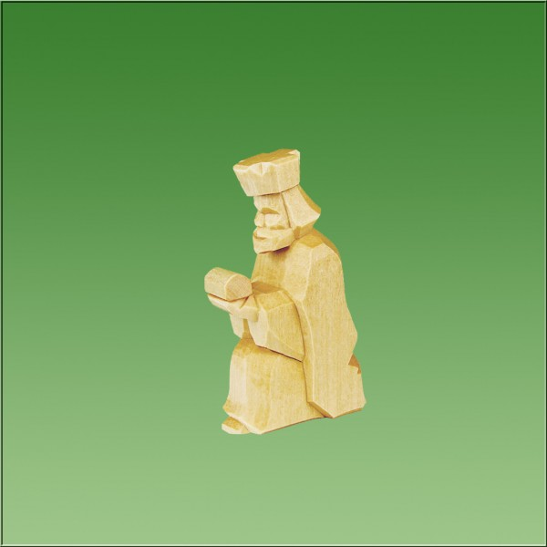 geschnitzter König kniend, 7cm und 9cm, natur lasiert