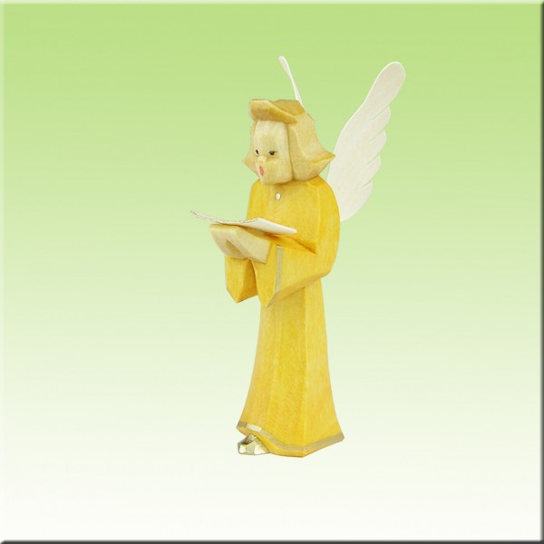 geschnitzter Engel, Sänger, 7cm, farbig lasiert