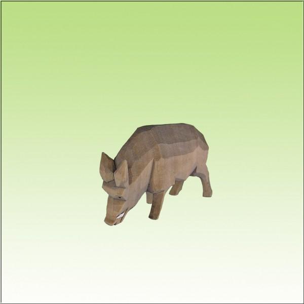 geschnitztes Wildschwein, wühlend, farbig lasiert